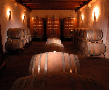 Kabola winery with large wine barrels